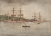 Tuke, Henry Scott, RA RWS (1858-1929): Ships at Falmouth, signed, Inscribed Falmouth bottom right, watercolour, 35.5 x 25.3 cms. RCPS Tuke Collection. Loan.