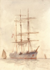 Tuke, Henry Scott, RA RWS (1858-1929): Three Masted Ship, signed, watercolour, 35.5 x 25.5 cms. RCPS Tuke Collection. Loan.