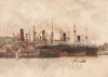 Tuke, Henry Scott, RA RWS (1858-1929): Harbour Scene, signed and dated, watercolour, 25.4 x 35.5 cms. RCPS Tuke Collection. Loan.