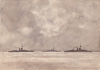 Tuke, Henry Scott, RA RWS (1858-1929): War Ships, signed and dated, watercolour, 25.4 x 36.2 cms. RCPS Tuke Collection. Loan.