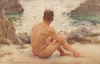 Tuke, Henry Scott, RA RWS (1858-1929): Charlie seated on the Sand, signed and dated 1907, watercolour, 14 x 21.5 cms. RCPS Tuke Collection. Loan.