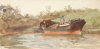 "Tuke, Henry Scott, RA RWS (1858-1929): Hulk in Sailor's Creek (PKA Sketch at Lastingham), signed, Inscribed on old mount ""Sketch at Lastingham"" on back., watercolour, 17.7 x 36.2 cms. RCPS Tuke Collection. Loan."