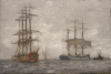Tuke, Henry Scott, RA RWS (1858-1929): Sailing Ships and Tug, oil laid down canvas, 22.3 x 33.8 cms. RCPS Tuke Collection. Loan.
