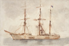 Tuke, Henry Scott, RA RWS (1858-1929): Three Masted Barque, signed, watercolour, 17.9 x 26.1 cms. RCPS Tuke Collection. Loan.