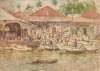 Tuke, Henry Scott, RA RWS (1858-1929): The Market, Belize, British Honduras, signed and dated 1924, Inscribed The Market, Belize, British Honduras bottom right, watercolour, 26 x 36.3 cms. RCPS Tuke Collection. Loan.