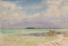 Tuke, Henry Scott, RA RWS (1858-1929): Glover's Reef, British Honduras, signed and dated 1924, Inscribed bottom left Glover's Reef B.Honduras, watercolour, 17.5 x 26 cms. RCPS Tuke Collection. Loan.