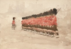 Tuke, Henry Scott, RA RWS (1858-1929): Scots Guards on Parade, watercolour, 17.5 x 25 cms. RCPS Tuke Collection. Loan.