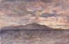Tuke, Henry Scott, RA RWS (1858-1929): Sunrise at Hayti, signed and dated 1923, Inscribed 'Sunrise off Hayti' bottom right, watercolour, 14 x 21.9 cms. RCPS Tuke Collection. Loan.
