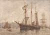 Tuke, Henry Scott, RA RWS (1858-1929): Topsail Schooner, signed and dated, inscribed Watercolour sketch of a tall ship on the reverse - more could be revealed cleaning., watercolour, 25.3 x 35.5 cms. RCPS Tuke Collection. Loan.