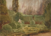 Tuke, Henry Scott, RA RWS (1858-1929): Formal Garden, signed and dated 1912, watercolour, 18.5 x 26.4 cms. RCPS Tuke Collection. Loan.