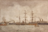 Tuke, Henry Scott, RA RWS (1858-1929): Ships in Harbour, signed, watercolour, 36 x 50 cms. RCPS Tuke Collection. Loan.