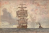 Tuke, Henry Scott, RA RWS (1858-1929): Barque and Tug, signed and dated 1922, watercolour, 17.6 x 25.4 cms. RCPS Tuke Collection. Loan.