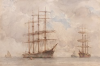 Tuke, Henry Scott, RA RWS (1858-1929): Sailing Ships, signed and dated, watercolour, 30.3 x 45.6 cms. RCPS Tuke Collection. Loan.