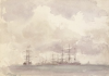 Tuke, Henry Scott, RA RWS (1858-1929): Sailing Ships at Anchor, signed and dated 1908, watercolour, 16.6 x 25 cms. RCPS Tuke Collection. Loan.