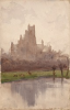 Tuke, Henry Scott, RA RWS (1858-1929): Ely Cathedral, signed and dated 1901, inscribed H.S.Tuke bottom left and dated Ely Dec. 29 1901, watercolour, 21.3 x 13.6 cms. RCPS Tuke Collection. Loan.