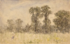 Tuke, Henry Scott, RA RWS (1858-1929): Landscape with Trees, watercolour, 14.2 x 22.2 cms. RCPS Tuke Collection. Loan.
