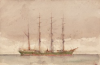 Tuke, Henry Scott, RA RWS (1858-1929): Green Ship, signed and dated, watercolour, 13.8 x 21.4 cms. RCPS Tuke Collection. Loan.