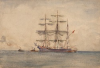 Tuke, Henry Scott, RA RWS (1858-1929): Sailing Ship, signed, inscribed Initialed H.S.T bottom right, watercolour, 17 x 24.6 cms. RCPS Tuke Collection. Loan.
