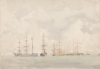 Tuke, Henry Scott, RA RWS (1858-1929): Ships at Anchor, watercolour, 16.5 x 23.5 cms. RCPS Tuke Collection. Loan.