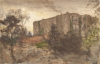 Tuke, Henry Scott, RA RWS (1858-1929): Gilling Castle, Yorks, signed and dated 1908, inscribed on reverse Gilling Castle, Yorks (W.S.Hunter's place), watercolour, 13.8 x 21.4 cms. RCPS Tuke Collection. Loan.