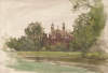 Tuke, Henry Scott, RA RWS (1858-1929): Eton Chapel, signed and dated 1897, inscribed Eton Chapel front bottom left, watercolour, 17.8 x 25.9 cms. RCPS Tuke Collection. Loan.