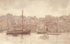Tuke, Henry Scott, RA RWS (1858-1929): Smacks in Falmouth Harbour, signed, inscribed on back Smacks in Falmouth H.S.Tuke RA, watercolour, 13.8 x 21.6 cms. RCPS Tuke Collection. Loan.