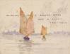 Tuke, Henry Scott, RA RWS (1858-1929): Christmas and New Year card, signed and dated 1905, inscribed Wishing you a Merry Xmas and A Happy New Year, watercolour, 10 x 15.5 cms. RCPS Tuke Collection. Loan.