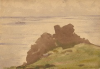 Tuke, Henry Scott, RA RWS (1858-1929): Rocky Coast, signed and dated 1899, watercolour, 17.5 x 24.9 cms. RCPS Tuke Collection. Loan.
