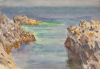 Tuke, Henry Scott, RA RWS (1858-1929): Rocks at Pennance Point, signed, inscribed On reverse another watercolour of a rock at Newporth beach., watercolour, 17.7 x 25.6 cms. RCPS Tuke Collection. Loan.