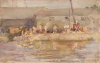 Tuke, Henry Scott, RA RWS (1858-1929): Quay Scamps, signed and dated 1896, watercolour, 13.7 x 21.4 cms. RCPS Tuke Collection. Loan.