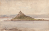 Tuke, Henry Scott, RA RWS (1858-1929): St Michael's Mount, signed, watercolour, 14 x 21.6 cms. RCPS Tuke Collection. Loan.