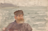 Tuke, Henry Scott, RA RWS (1858-1929): Portrait of a Fisherman (Neddy Hall), watercolour, 13.9 x 21.6 cms. RCPS Tuke Collection. Loan.