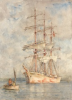 Tuke, Henry Scott, RA RWS (1858-1929): White Ship, signed and dated 1915, watercolour, 35.5 x 25.4 cms. RCPS Tuke Collection. Loan.
