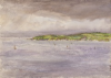 Tuke, Henry Scott, RA RWS (1858-1929): Coastal Scene, watercolour, 17.9 x 24.9 cms. RCPS Tuke Collection. Loan.