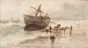 Tuke, Henry Scott, RA RWS (1858-1929): The Wreck, signed and dated 1870, watercolour, 13 x 24 cms. RCPS Tuke Collection. Loan.