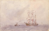 Tuke, Henry Scott, RA RWS (1858-1929): Sailing Ship and Tug, signed and dated 1911, inscribed H.S. Tuke, watercolour, 13.5 x 21.7 cms. RCPS Tuke Collection. Loan.