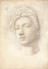 Tuke, Henry Scott, RA RWS (1858-1929): Sculpture from the Object, signed and dated 1878, inscribed on back -Sculpture from the Object Subject for March 1878, (Mask of Madonna by Michelangelo), watercolour, 25.5 x 18 cms. RCPS Tuke Collection. Loan.