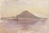 Tuke, Henry Scott, RA RWS (1858-1929): North Berwick Law, signed and dated 1891, inscribed N. Berwick Law bottom left, watercolour, 17.5 x 25.5 cms. RCPS Tuke Collection. Loan.