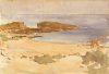 Tuke, Henry Scott, RA RWS (1858-1929): Beach Scene, North Berwick, signed and dated 1891, watercolour, 17.5 x 25.5 cms. RCPS Tuke Collection. Loan.
