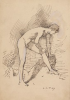 Tuke, Henry Scott, RA RWS (1858-1929): Sketch for The Diving Place, signed and dated 1907, inscribed on the back H.S.Tuke ARA The Pool ( written by Willy Sainsbury), pen and ink on paper, 19.8 x 13.7 cms. RCPS Tuke Collection. Loan.