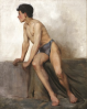 Tuke, Henry Scott, RA RWS (1858-1929): Seated Nude Study, oil on canvas, 66 x 53 cms. RCPS Tuke Collection. Loan.