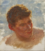 Tuke, Henry Scott, RA RWS (1858-1929): Portrait of T.C.Tiddy (study for Midsummer Morning), signed, oil on panel, 21.5 x 19 cms. RCPS Tuke Collection. Loan.