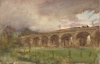 Tuke, Henry Scott, RA RWS (1858-1929): Harwell Viaduct, GWR, watercolour, 14 x 21 cms. RCPS Tuke Collection. Loan.
