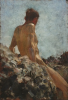 Tuke, Henry Scott, RA RWS (1858-1929): Nude Study, dated 1928, oil on wood panel, 29.3 x 19.9 cms. RCPS Tuke Collection. Loan.
