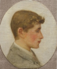 Tuke, Henry Scott, RA RWS (1858-1929): Portrait of a Youth, oil on canvas laid down on board, 24.5 x 21 cms. RCPS Tuke Collection. Loan.