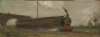 Tuke, Henry Scott, RA RWS (1858-1929): Railway Train, oil on board, 14.2 x 38.1 cms. RCPS Tuke Collection. Loan.