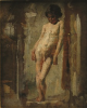 Tuke, Henry Scott, RA RWS (1858-1929): Nude Italian Boy, oil on sketch block end, 21.6 x 17.4 cms. RCPS Tuke Collection. Loan.