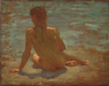 Tuke, Henry Scott, RA RWS (1858-1929): Sketch of Nude Youth, oil on panel, 31.8 x 40 cms. RCPS Tuke Collection. Loan.