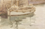 Tuke, Henry Scott, RA RWS (1858-1929): Boats at Falmouth, signed, inscribed Boats at Falmouth on back and signed bottom right H.S.T., watercolour, 14 x 21 cms. RCPS Tuke Collection. Loan.