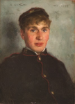 Tuke, Henry Scott, RA RWS (1858-1929): Head of Martin (William J. Martin), dated 1890, inscribed top left H.S.Tuke D top right Dec. 1890, oil on mahogany panel, 36 x 26 cms. RCPS Tuke Collection. Loan.
